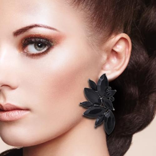 Fashion Wings Earrings Rhinestone RED / Pink Glass Black Resin Sweet Metal Leaf Ear Earrings For Girl(black)