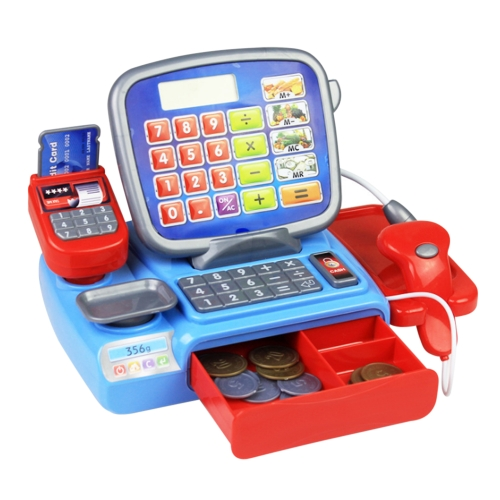 Simulation Supermarket Cash Register Toy Set with Fruit Model Calculator Children Puzzle Pretend Play Toy