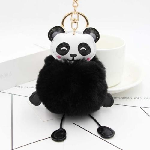 Panda Rabbit Fur Soft Ball Cars Plush KeyChains(Black)