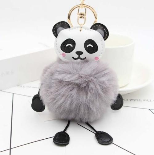Panda Rabbit Fur Soft Ball Cars Plush KeyChains(Gray)