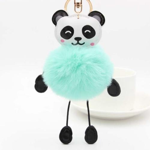 Panda Rabbit Fur Soft Ball Cars Plush KeyChains(Green)