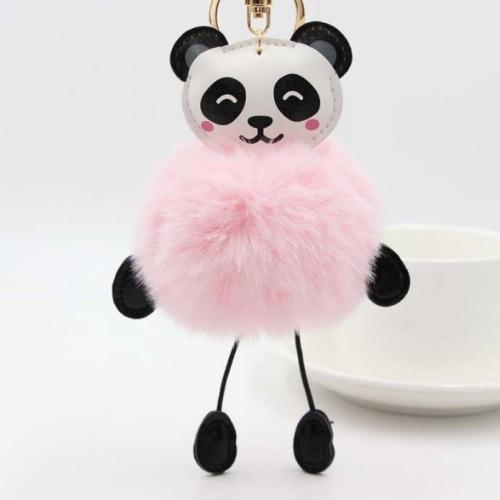 Panda Rabbit Fur Soft Ball Cars Plush KeyChains(Pink)