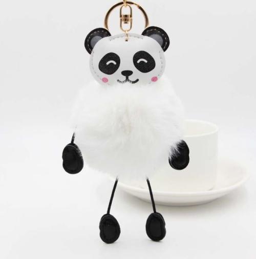 Panda Rabbit Fur Soft Ball Cars Plush KeyChains(White)
