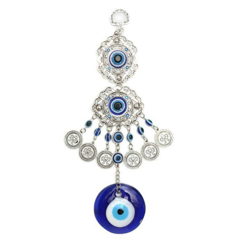 2 PCS Home Gifts Blue Glass Evil Eye Pendant Amulet Wall Hanging Decoration