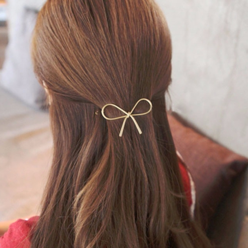 Metal Big Elastic Women Geometric Openwork Bow Hairpin(Gold)