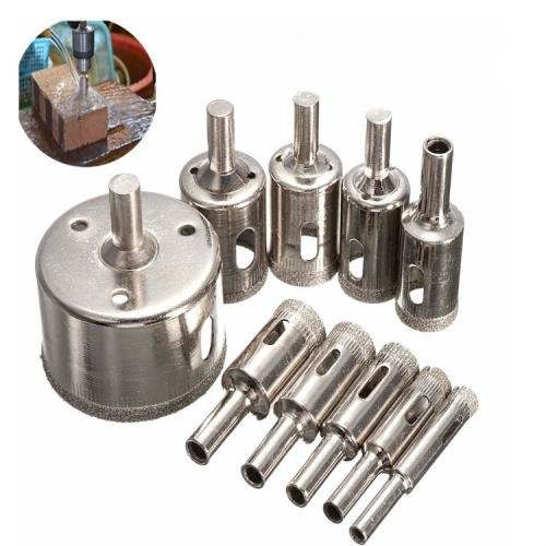 10Pieces 52mm Long Diamond Coated Drill Bit Set 8mm Dia Hole Glass Cutter Tip
