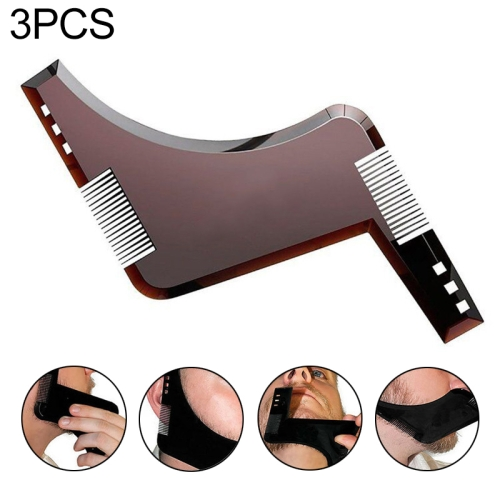 3 PCS Double-sided Beard Comb Molding Template Tool Beard Shaping Styling Tool With Inbuilt Comb(Brown)