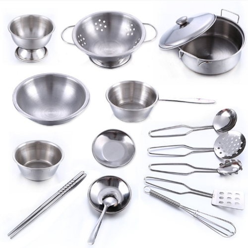 16 PCS / Set Stainless Steel Pretend Play Kitchen Toys Mini Model Kitchenware Cookware Cooking Toys