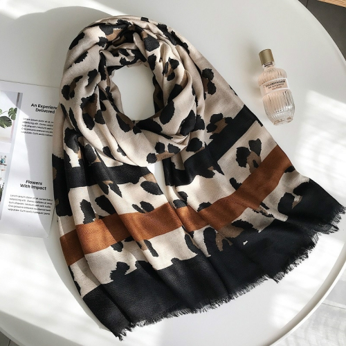 Cotton Classic Leopard Scarf Spring and Autumn Silk Scarf Shawl, Size:180 x 90cm(As Picture Show)