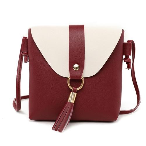 PU Leather Women Bucket Shoulder Bag Fashion Panelled Tassel Crossbody Bag Female Messenger Bag Small Handbags(Wine red)