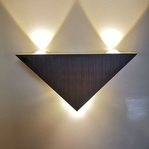 3W Aluminum Triangle Wall Lamp Home Lighting Indoor Outdoor Decoration Light, AC 85-265V(Warm White)