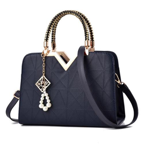 Summer Female Phone Pocket Zipper Handbags Flap Leather Shoulder Crossbody Bags(Dark Blue)