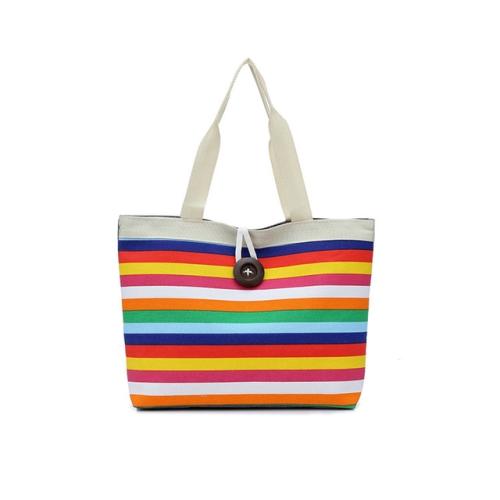 3 PCS Color Canvas Stripe Contrast Color Shoulder Bag Casual Trend Large Capacity Handbag Green Shopping Bag(Yellow)