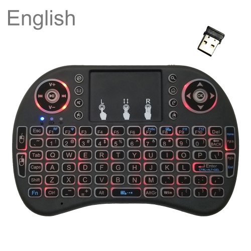 Support Language: English i8 Air Mouse Wireless Backlight Keyboard with Touchpad for Android TV Box & Smart TV & PC Tablet & Xbox360 & PS3 & HTPC/IPTV фото
