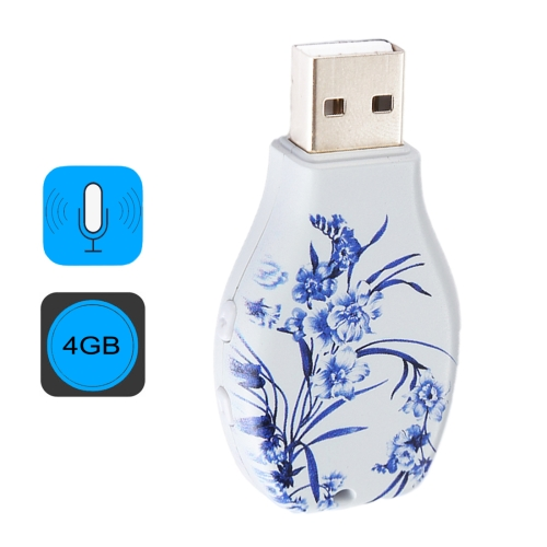 Buy Flowers Blue and White Porcelain Pattern Portable Audio Voice Recorder USB Drive, 4GB, Support Music Playback for $17.86 in SUNSKY store