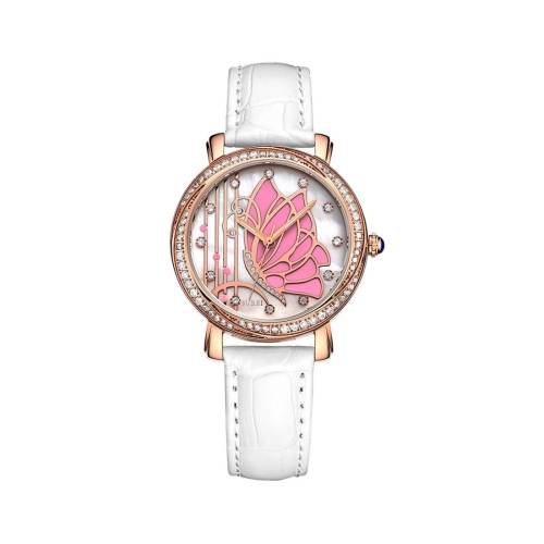 Buy BUREI 7042 Elegant 3ATM Waterproof Quartz Movement Rhinestone Encrusted Butterfly Pattern Wrist Watch with Genuine Leather Band & Sapphire Window for Women (Rose Gold Case Pink Butterfly) for $47.33 in SUNSKY store