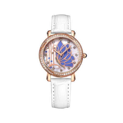 Buy BUREI 7042 Elegant 3ATM Waterproof Quartz Movement Rhinestone Encrusted Butterfly Pattern Wrist Watch with Genuine Leather Band & Sapphire Window for Women (Rose Gold Case Blue Butterfly) for $47.33 in SUNSKY store