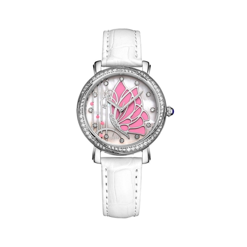 Buy BUREI 7042 Elegant 3ATM Waterproof Quartz Movement Rhinestone Encrusted Butterfly Pattern Wrist Watch with Genuine Leather Band & Sapphire Window for Women (Blue Case Pink Butterfly) for $47.33 in SUNSKY store