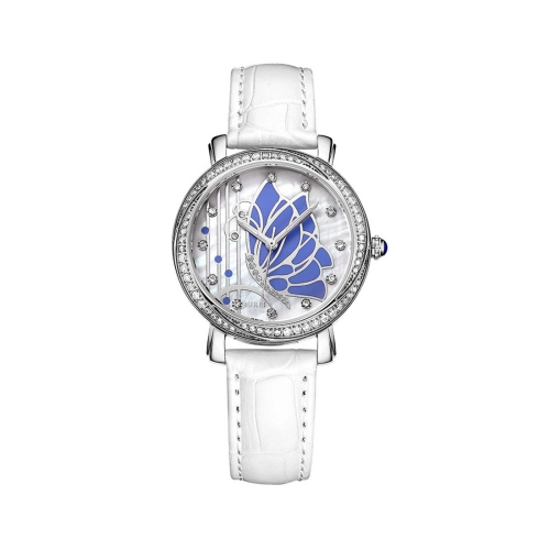 Buy BUREI 7042 Elegant 3ATM Waterproof Quartz Movement Rhinestone Encrusted Butterfly Pattern Wrist Watch with Genuine Leather Band & Sapphire Window for Women (Blue Case Blue Butterfly) for $47.33 in SUNSKY store