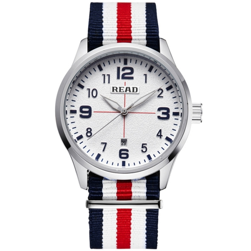 Buy READ 5258 Fashionable 3ATM Waterproof Quartz Wrist Watch with Stripes Nylon Band & Luminous Display & Calendar Function for Men (White Window Blue Red Strap) for $17.31 in SUNSKY store