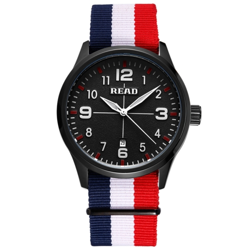 Buy READ 5258 Fashionable 3ATM Waterproof Quartz Wrist Watch with Stripes Nylon Band & Luminous Display & Calendar Function for Men (Black Window Blue White Red Strap) for $17.31 in SUNSKY store