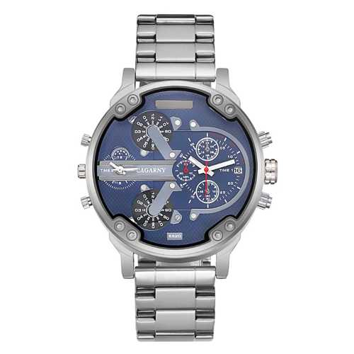 Buy CAGARNY 6820 Fashionable Business Style Large Dial Dual Time Zone Quar0tz Movement Wrist Watch with Stainless Steel Band & Calendar Function for Men (Silver Band Blue Window) for $11.15 in SUNSKY store
