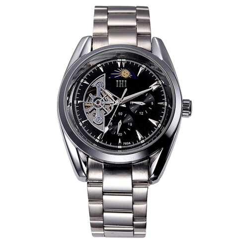 Buy IHI C728 Life Waterproof Round Hollow Dial Automatic Mechanical Fashion Men Watch with Stainless Steel Band & 24 Hours Dial & Moon and Stars Small Dial & Luminous Display (Black + Silver) for $22.11 in SUNSKY store