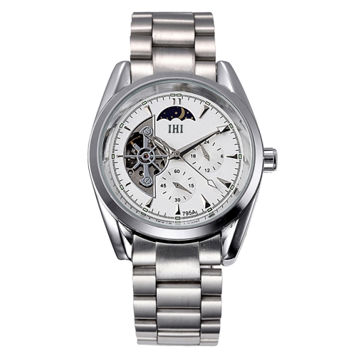 Buy IHI C728 Life Waterproof Round Hollow Dial Automatic Mechanical Fashion Men Watch with Stainless Steel Band & 24 Hours Dial & Moon and Stars Small Dial & Luminous Display (Silver + Silver) for $22.11 in SUNSKY store