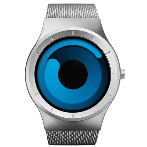 Buy SINOBI 4178 Round Swirl Design Dial Personality Fashion Men Sport Quartz Watch with Stainless Steel Band (Silver + Blue) for $19.40 in SUNSKY store