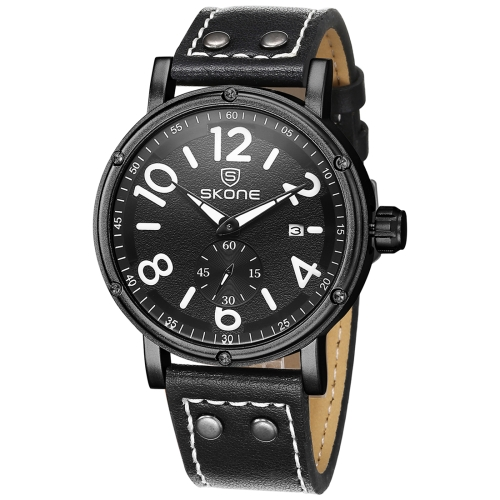 SKONE 1008 Independent Small Seconds Dial Calendar Display Men Quartz Movement Watch with PU Leather Band, Black