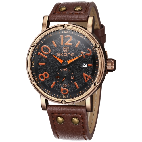 Buy SKONE 1008 Independent Small Seconds Dial Calendar Display Men Quartz Movement Watch with PU Leather Band, Coffee for $12.13 in SUNSKY store