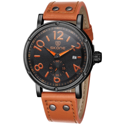 Buy SKONE 1008 Independent Small Seconds Dial Calendar Display Men Quartz Movement Watch with PU Leather Band, Orange for $12.13 in SUNSKY store