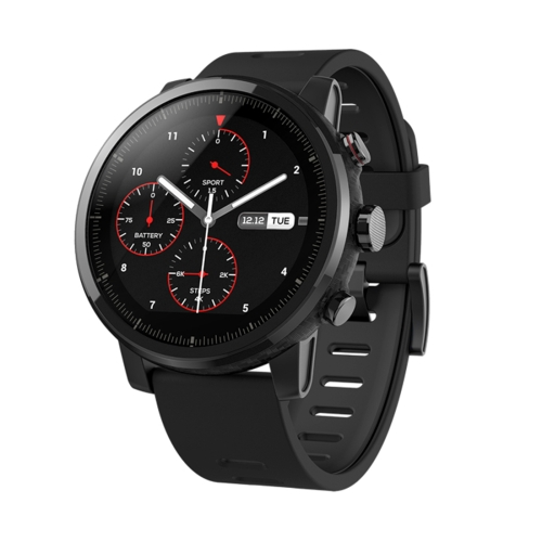 [HK Stock] Original International Edition Xiaomi Huami Amazfit Smart Sports Watch 2 5ATM Waterproof 1.34 inch Capacitive Touch Screen, Support GPS & WiFi & Bluetooth Music Player(Black)