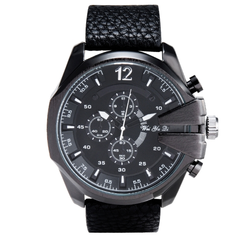WeiYaQi 89017 Fashion Wrist Watch with Black Leather Band (Black)