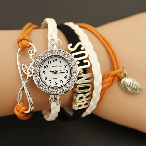 JIANGYUYAN PU Woven Strap Basball GL68 Quartz Movement Bracelet Watch with Lobster Clasp
