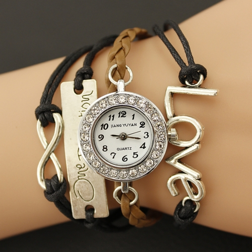 Buy JIANGYUYAN PU Woven Strap LOVE GL68 Quartz Movement Bracelet Watch with Lobster Clasp for $3.46 in SUNSKY store