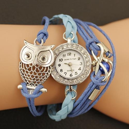 Buy JIANGYUYAN Blue PU Woven Strap Owl GL68 Quartz Movement Bracelet Watch with Lobster Clasp for $3.46 in SUNSKY store