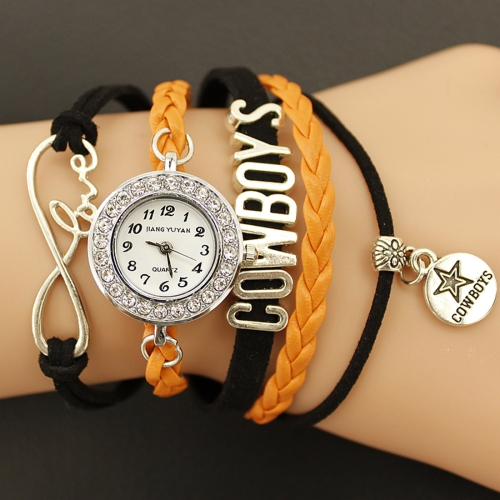 Buy JIANGYUYAN PU Woven Strap Cowboys GL68 Quartz Movement Bracelet Watch with Lobster Clasp, Orange for $3.46 in SUNSKY store