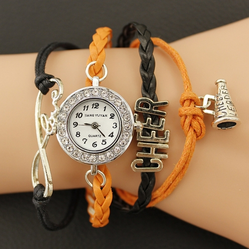 Buy JIANGYUYAN PU Woven Strap Cheers GL68 Quartz Movement Bracelet Watch with Lobster Clasp, Orange for $3.46 in SUNSKY store