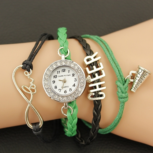 Buy JIANGYUYAN PU Woven Strap Cheers GL68 Quartz Movement Bracelet Watch with Lobster Clasp, Green for $3.46 in SUNSKY store
