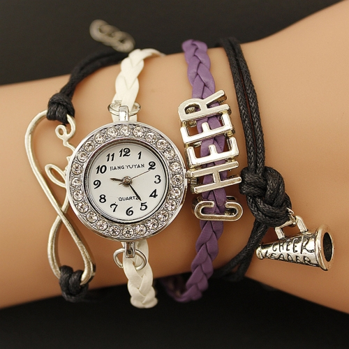 Buy JIANGYUYAN PU Woven Strap Cheers GL68 Quartz Movement Bracelet Watch with Lobster Clasp, Purple for $3.46 in SUNSKY store