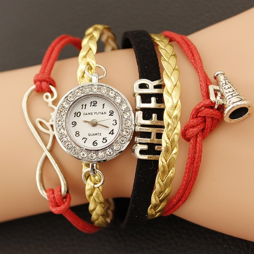Buy JIANGYUYAN PU Woven Strap Cheers GL68 Quartz Movement Bracelet Watch with Lobster Clasp, Red for $3.46 in SUNSKY store