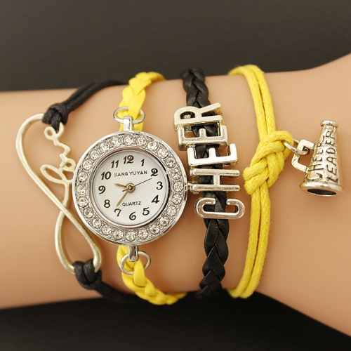 Buy JIANGYUYAN PU Woven Strap Cheers GL68 Quartz Movement Bracelet Watch with Lobster Clasp, Yellow for $3.46 in SUNSKY store
