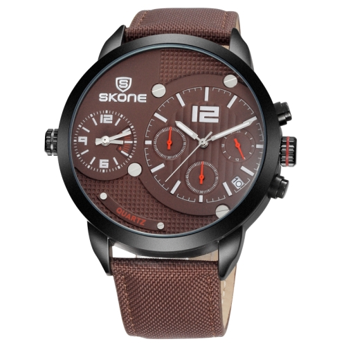 Buy SKONE 3833 Multifunctional 3ATM Waterproof Dual Quartz Movement Sport Watch with Canvas + PU Band & Calendar & Multi-functional Three Sub Dial (Hour / Minute / Second) for Men, Coffee for $18.94 in SUNSKY store
