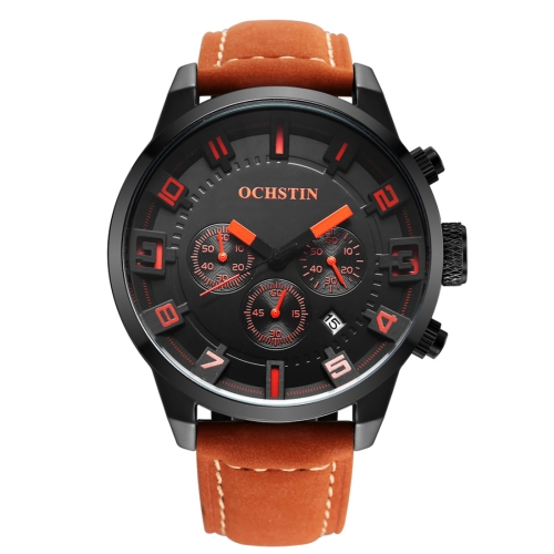 Buy OCHSTIN Round Multifunction Three Sub Dial Calendar Display Men Quartz Watch with Genuine Leather Band (Black + Orange) for $18.40 in SUNSKY store