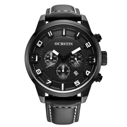 Buy OCHSTIN Round Multifunction Three Sub Dial Calendar Display Men Quartz Watch with Genuine Leather Band (Black + White) for $18.40 in SUNSKY store