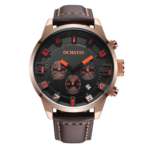Buy OCHSTIN Round Multifunction Three Sub Dial Calendar Display Men Quartz Watch with Genuine Leather Band (Rose Gold + Orange) for $18.40 in SUNSKY store