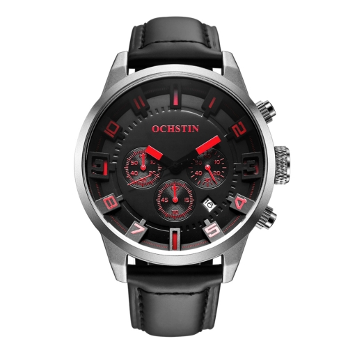 Buy OCHSTIN Round Multifunction Three Sub Dial Calendar Display Men Quartz Watch with Genuine Leather Band (Silver + Red) for $18.40 in SUNSKY store