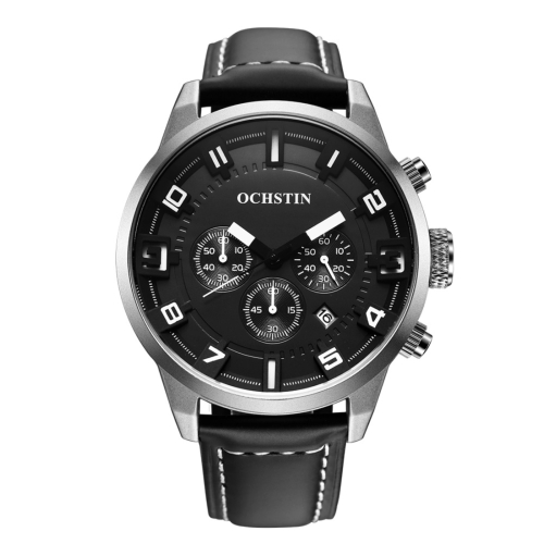 Buy OCHSTIN Round Multifunction Three Sub Dial Calendar Display Men Quartz Watch with Genuine Leather Band (Silver + White) for $18.40 in SUNSKY store