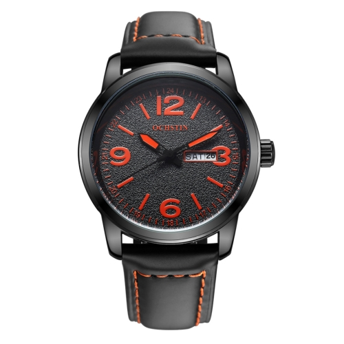 Buy OCHSTIN Round Luminous Display Dual Calendar Display Men Quartz Watch with Genuine Leather Band (Black + Orange) for $14.13 in SUNSKY store